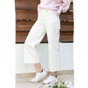 CHEAP MONDAY Ally Blank White Cropped Wide Leg